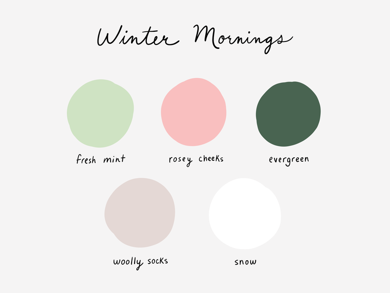Winter Mornings baby pastel handwriting typography crisp snow woolly socks evergreen pink mint winter colours swatches design tools mixing colours inspiration color scheme colour palette color palette