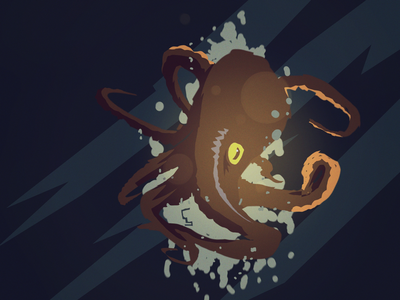 Unexpected  Visitor visdev creature design illustration silhouette illustration flat octopus
