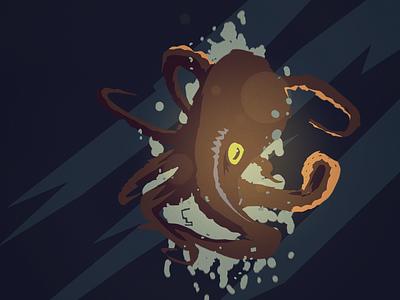 Unexpected  Visitor visdev creature design illustration silhouette illustration flat octopus