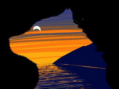 Bear Coast brand identity sunrise sunset abstract minimalist silhouette branding design digital illustration drawing bear logo illustration logo coast bear