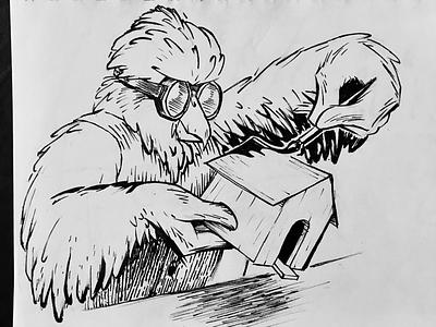 """""""Build"""" for Inktober! inktober sketchbook comic inking drawing sketch illustration ink build birdhouse"""