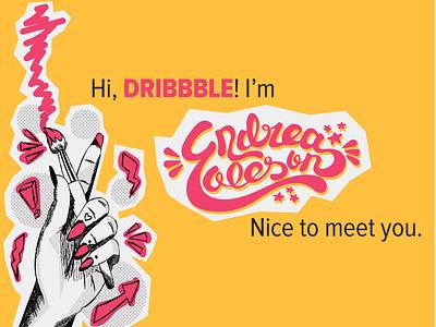 Hi, Dribbble! vector logo illustration