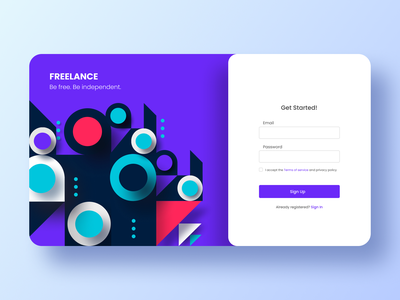Freelance. Form Register usability abstract signup logo dailyui daily challange minimal ux design ui freelance designer sign up sign in form register form register freelance