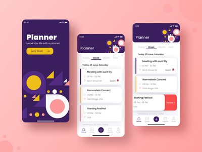Planner App 📝 illustration flat new planner app notebook notification pink to do app to do list planner vector web ios dailyui daily challange app minimal ux design ui