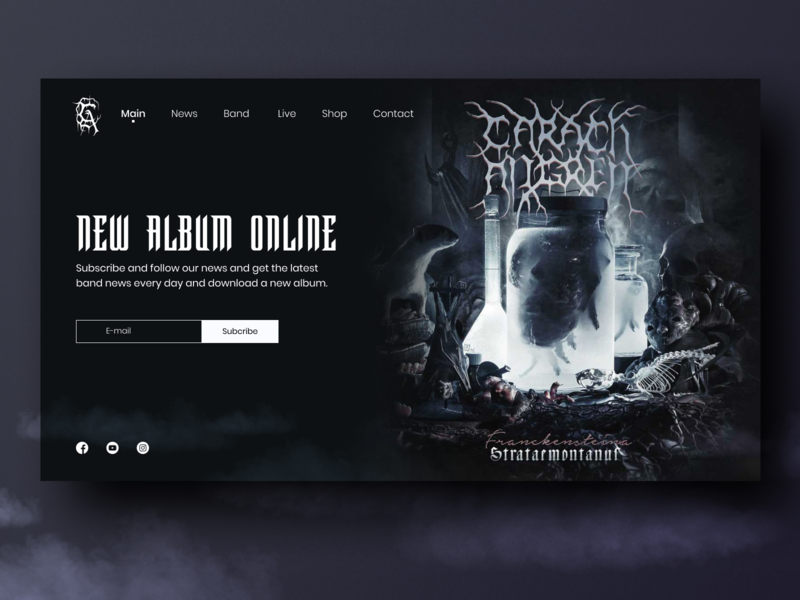 Carach Angren WebSite Concept rock n roll rock websesign website dark brutal minimal daily challange ui dark theme daily ui dailyui design carach angren metal band landingpage landina subscribe daily ui 026 026