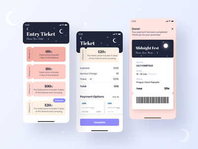 Midnight Fest App pricing table retro payment check pattern checkot ticket logo ios dailyui minimal ux daily challange festivals festival music festival pricing 030 design ui