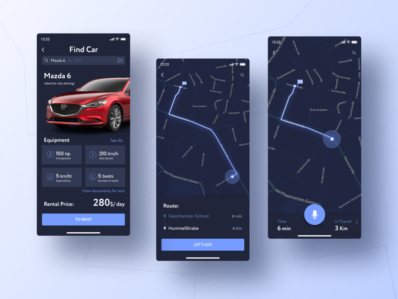 CarSharing App analytics carsharing rental car location location tracker car app 020 daily ui 020 navigation rental dark ui apple web ios app dailyui minimal daily challange ux