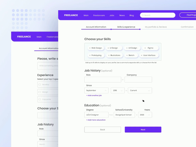Freelance. Form Register. DropDown experince freelancer ux research input dropdowns web freelance signup sign in form register ux 027 daily ui 027 animated dropdown animation design ui