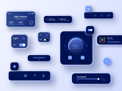 Dark UI Elements uidesign smart home app app dark mode dark theme clean ui dailyui minimal ux daily challange dark ui elements ui elements smarthome design ui