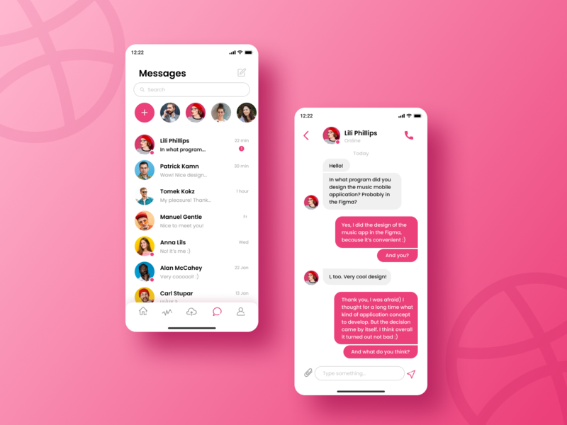 Dribbble Direct Messaging chat app chat message pink uidesign direct messaging message app logo vector dailyui daily challange ux minimal app ios design ui dribbble