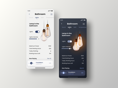 Smart Home App switch off on edison light dark app smart home app smarthome smart home dark ui edison lamp dark theme minimal dailyui daily challange ux app ios design ui