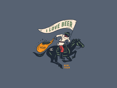 Old Chicago Valentines Day booze beer cowboy illustration
