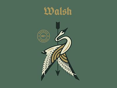 Walsh Clan illustration heraldy irish arrow swan celtic