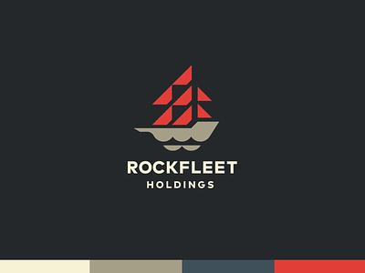 Rockfleet Holdings Identity clean identity branding logo icon boat nautical ocean sail financial ship