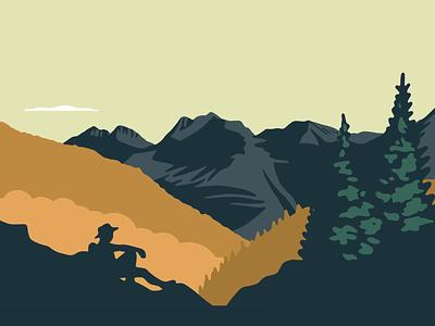 Seek Solitude nature outdoors mountains scenery landscape illustration