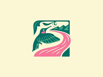 Clean Rivers Logo - Odell hummingbird mountains river illustration logo