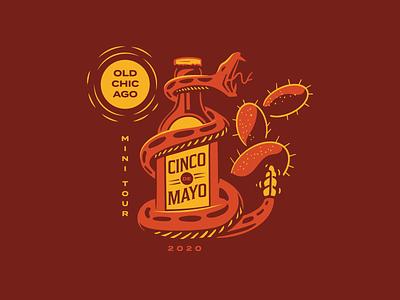 Old Chicago Cinco de Mayo Mini Tour Tee mexico snake cinco de mayo beer illustration
