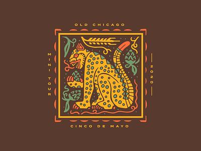 Old Chicago Cinco de Mayo Mini Tour Tee beer illustration cinco de mayo mexico jaguar