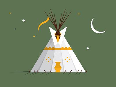 Tipi moon tradition graphic design flat american native indian nez perce illustration tent tipi