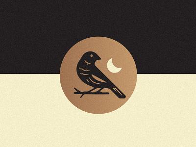 Bird dark bunting lark moon logo illustration bird
