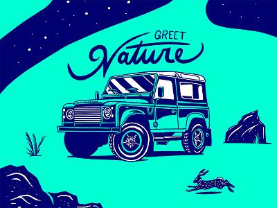 4x4 Series 3/3 defender vehicle offroad nature illustration overlanding