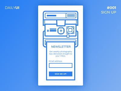 DailyUI #001 - Photography Newsletter Sign Up dailyui sign up blue flat outline illustration mobile