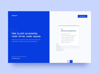 Bisect Website cards ui cards consultancy software house blue and white blue interface design ux design uxdesign uidesign uiux ui design landing page design landing design landing page website design website hero banner hero section