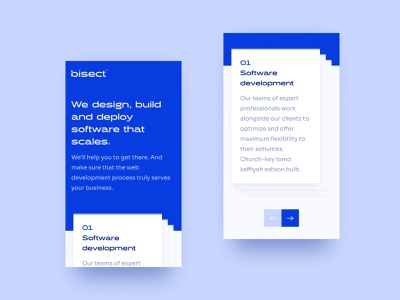 Bisect Website figma design user interface design user experience user interface ui  ux website stacked cards interface consultancy web design hero section ux design ui design ui software development software company software house blue blue and white website design