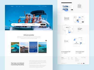 Sailside Website - Rental community cards modal interface yatch uidesign landing page homepage webdesign website boat renting rent search bar sailing boating boats rental ux design ux ui