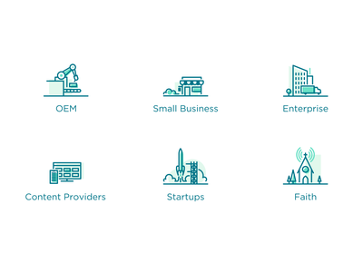 Industries Icon Set church faith startup content creation enterprise small business oem industry iconset icons