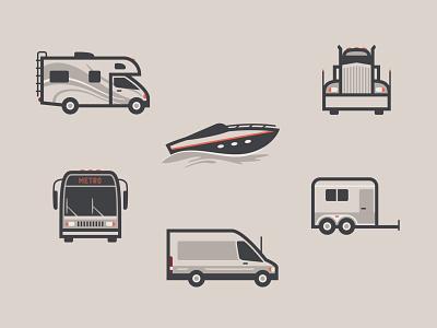 Transportation Icon Set travel vehicles industry trailer van transit business boat truck rv transportation icon set icons