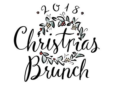Christmas Brunch Lettering wreath lettering holiday brunch christmas