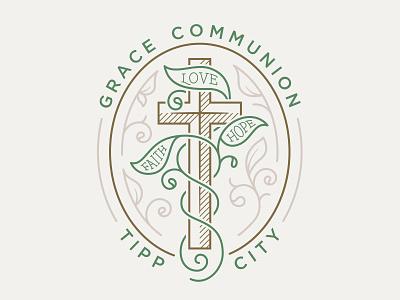 Grace Communion Logo leaves vines cross design lettering typography logo illustration ministry bible church