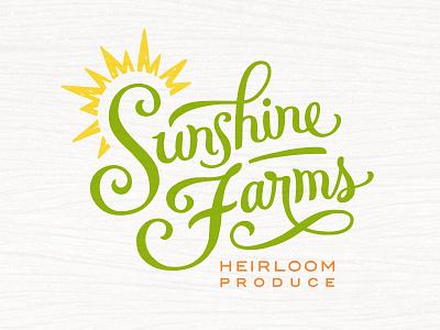 Sunshine Farms Logo lettering georgia family agriculture vegetables organic food climate green branding logo wellness health organic regenerative sun restaurant produce sunshine farmers market farm