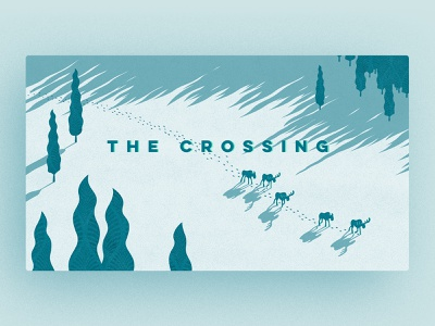 The Crossing Blog Illustration blog design texture landscape sunset trees rocky mountains antlers snow long shadow header illustration header blog crossing moose