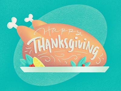 Happy Thanksgiving! lemon cranberries autumn fall holiday dinner food handlettering lettering illustration thanksgiving day thanksgiving turkey day turkey
