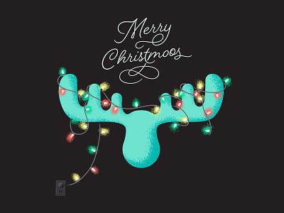"Merry ""Christmoos"" festive antlers script lettering procreate ipad pro art texture illustration merry holiday lights christmas moose"