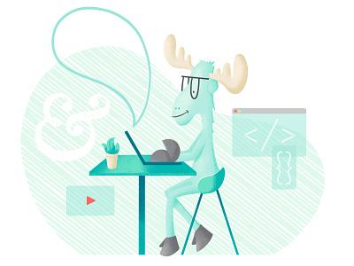 Working Moose (In-Progress) antlers laptop animation video typography design development developer code work moose