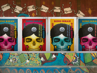 The King Khan & BBQ Show psychedelic mockup kingkhan print collateral music poster