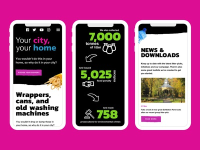 NCC Your city, your home - Mobile black green pink web design web mobile design responsive council mobile ux ui