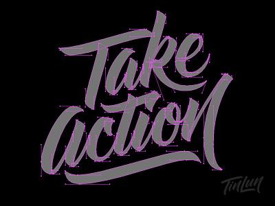 Take Action - vector - handles handles bezier lettering vector