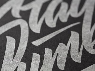 Silver Letterpress lettering silver ink letterpress