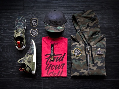 Camo + Red packaging photography design patch embroidery hat snapback apparel lettering