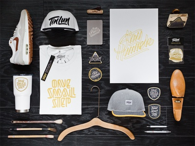 White / Grey / Gold hat embroidery patch design hand lettering apparel design product photography