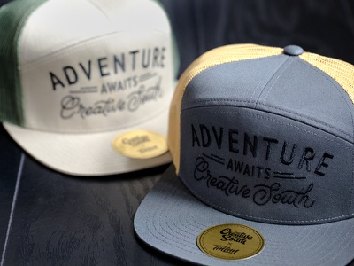 Creative South Hats - Adventure Awaits product design hat design hand lettering