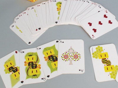 Design set of bee charm playing cards