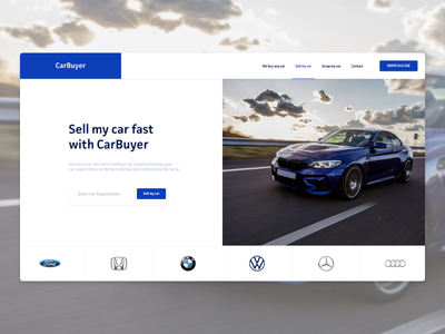 Car Buying Service - Landing Page Exploration blue car first screen landing page design landing page