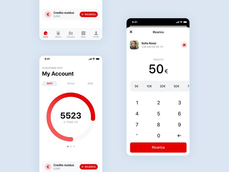 Vodafone App UI Concept uidesign typography icon app design ux ui