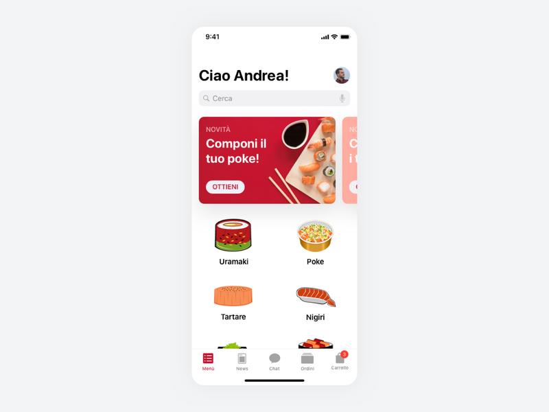 This is not a Sushi Bar Milan - UI App branding illustration type uidesign typography icon app design ux ui