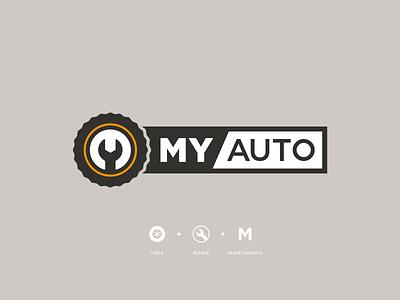 My Auto Repair & Tire Center Rebrand branding repair mechanic logo design tire modern wrench logo